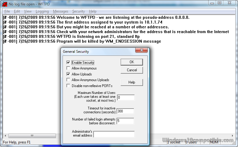 WFTPD Windows FTP Server 3 40R1 Free download